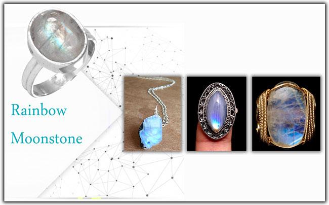 جواهرات سنگ قمر رنگین کمانی